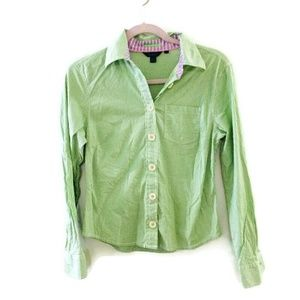 BODEN Green/white gingham Button down blouse